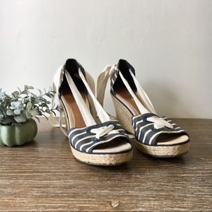 Sperry | Navy Striped Ankle Wrap Espadrille Wedge